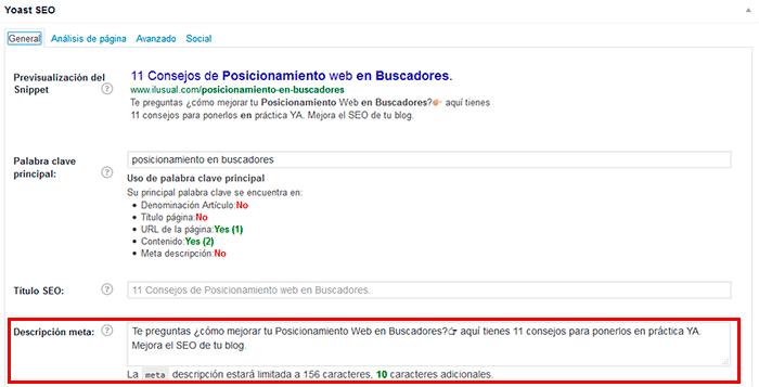 Posicionamiento web en buscadores. meta descripción y título