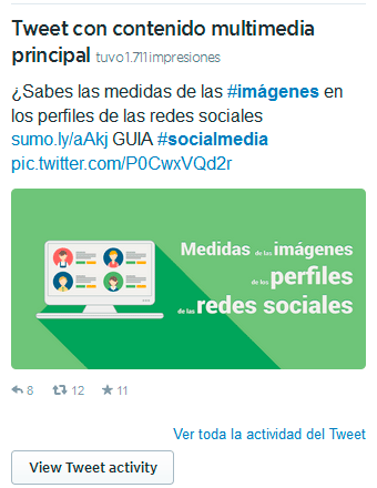 tweet multimedia primcipal en twitter analytics